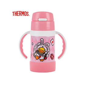 膳魔师儿童水杯高真空双耳不锈钢吸管杯带手柄宝宝保温杯粉色大黄鸭FEC-283S BDuck001