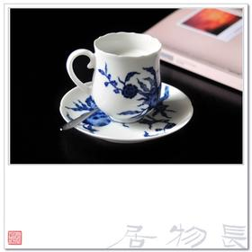 长物居 手绘青花寿桃咖啡杯.
