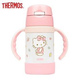 膳魔师儿童水杯高真空双耳不锈钢吸管杯带手柄宝宝保温杯粉色凯蒂FEC-283S KT001