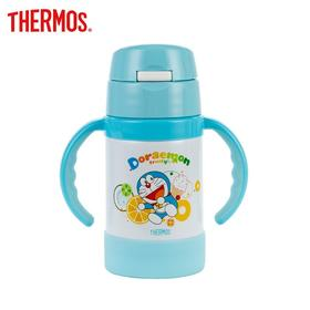 膳魔师儿童水杯高真空双耳不锈钢吸管杯带手柄宝宝保温杯蓝色多啦A梦FEC-283S DRM001
