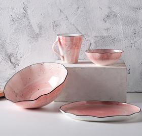 【餐具】铁工房欧式创意陶瓷碗套装盘子马克杯家用餐饮具四件套