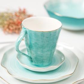 【餐具】铁工房陶瓷水杯创意马克杯欧式金边不规则手绘陶瓷杯办公室喝水杯