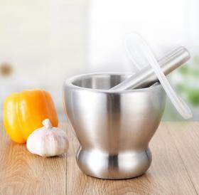 【厨房配件】304新款带盖子不锈钢捣蒜器研钵厨房用品捣药罐婴儿辅食研磨工具