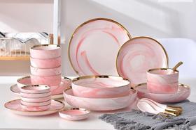 【餐具】餐具套装 创意大理石纹金边碗盘碟家用汤盘面碗味碟