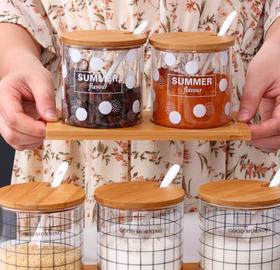 【厨房配件】玻璃调味罐套装欧式创意高硼硅玻璃调料盒调味罐厨房用品