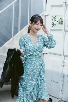 MAISON COVET  斑马纹印花花连衣裙