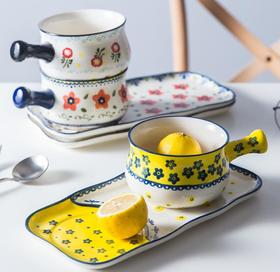 【餐具】创意早餐餐具套餐日式带把简约手绘一人食家用陶瓷手柄个性燕麦碗