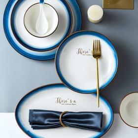 【餐具】景德镇陶瓷餐具北欧碗碟套装简约创意家用网红蓝边碗筷碗盘子组合