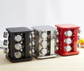 【厨房配件】不锈钢调味瓶罐旋转底座调料瓶12件套厨房用品玻璃调味罐组合套装