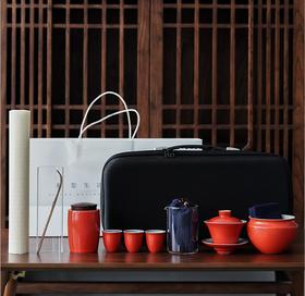 茶艺教学套组陶瓷三才盖碗珊瑚红红色整套功夫茶具茶杯茶席礼盒