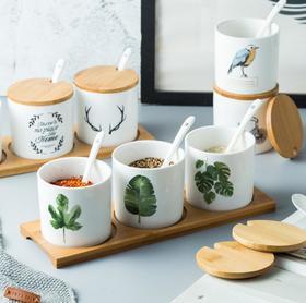 【厨房配件】家用厨房陶瓷佐料罐套装 日式厨房用品调味罐调料盒厨房用品创意