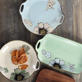 【餐具】创意芝麻点陶瓷双耳盘子 圆形长方形双耳盘牛排寿司盘