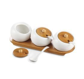 【厨房配件】高尔夫套装竹盖调味罐厨房用品