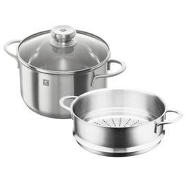 【锅具】双立人锅具24厘米汤锅蒸笼套装不锈钢深炖锅玻璃盖无涂层