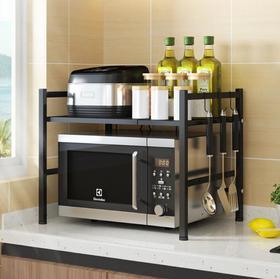 【厨房配件】厨房伸缩置物架简约双层省空间灶台台面架微波炉架烤箱收纳架