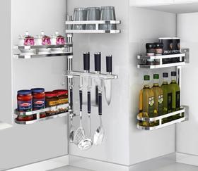 【厨房配件】304不锈钢免打孔厨房转角置物架壁挂收纳调味料佐料架子挂件用品