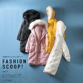 【半岛商城】暖冬必备 星星款女款羽绒服 连帽中长款 毛领设计