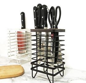 【厨房配件】不锈钢黑色刀座置物架多功能厨房刀架用品收纳架子