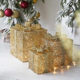 ins北欧风圣诞礼物盒轻奢风金色铁丝工艺品圣诞节装饰品场景布置