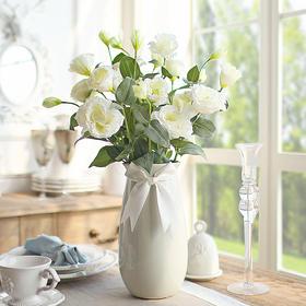 米子家居 简约欧式白瓷色落地陶瓷干花 花瓶客厅插花器装饰品摆件