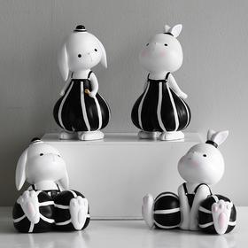 ins北欧风可爱树脂兔子摆件创意家居饰品客厅酒柜电视柜装饰品