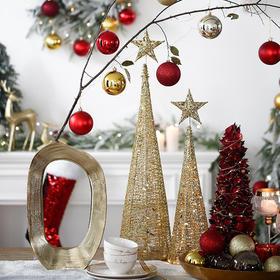 北欧风五角星圣诞树轻奢金色铁架工艺品圣诞节装饰品场景布置摆件