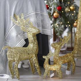 北欧金色圣诞麋鹿ins轻奢风居家室内橱窗圣诞装饰品场景布置摆件
