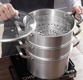 【锅具】康巴赫304不锈钢蒸锅笼大号加厚电磁炉家用蒸馒头