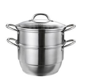 【锅具】德世朗不锈钢蒸锅无磁加厚复底二层三层中式欧式汤锅