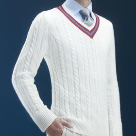 复古学院风纯羊毛板球毛衣