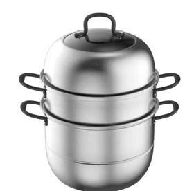 【锅具】佐笛熊不锈钢蒸锅加厚蒸笼大号三层双层汤锅煤气灶