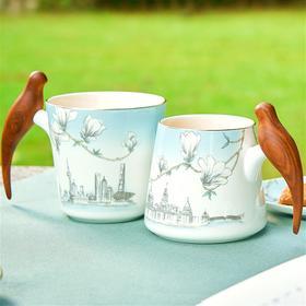 玛戈隆特 进博盛宴幸福小鸟对杯 木把手家用骨瓷情侣对杯