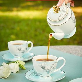 玛戈隆特 玉兰花开6头茶具套装 骨瓷家用茶具咖啡具套装