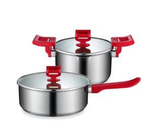 【锅具】德世朗304不锈钢厨具两件套汤锅煎锅 厨房用品无涂层加厚不粘锅