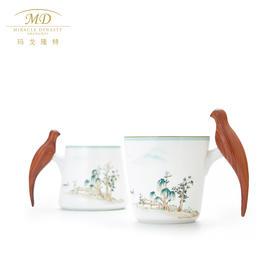 玛戈隆特 西湖盛宴幸福小鸟对杯 木把手家用骨瓷情侣对杯