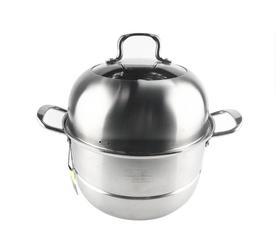 【锅具】黑金刚双篦蒸锅商用加厚不锈钢蒸锅双层电磁炉煤气炉通用