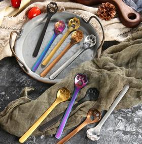 【餐具】创意日式卡通猫爪勺子镂空咖啡勺甜品雪糕搅拌勺304不锈钢餐具
