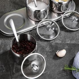 【厨房配件】304不锈钢调味罐 玻璃可视糖罐多功能调味瓶