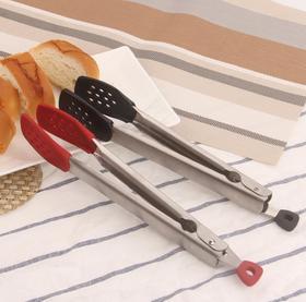 【厨房配件】304不锈钢食物夹 硅胶食品夹430不锈钢 烧烤夹 烘焙面包夹 牛排夹