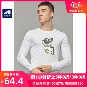 【5折】秋季新款男士时尚印花薄款毛衣圆领长袖针织衫男潮3337