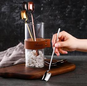【餐具】304不锈钢勺方头冰勺挂壁马克杯创意长柄果汁咖啡勺新款搅拌勺