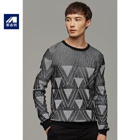 墨麦客男装2019冬季新款套头圆领毛衣男士青年撞色针织打底衫2085