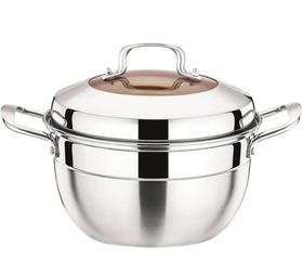 【锅具】佐熊笛蒸锅单篦锅不锈钢2层加厚复底蒸锅电磁炉煤气通用
