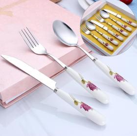 【餐具】不锈钢刀叉勺套装 陶瓷柄红花礼品餐具