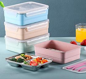 【餐具】日式上班族学生饭盒 加热分隔双层饭盒 小麦304便当盒