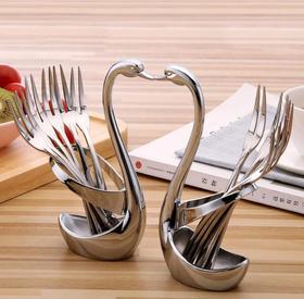 【餐具】时尚创意水果签肉叉 304创意不锈钢水果叉 底座天鹅座西餐具套装