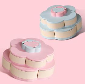【餐具】双层旋转果盘花瓣造型干果盘盒零食瓜子创意收纳盘