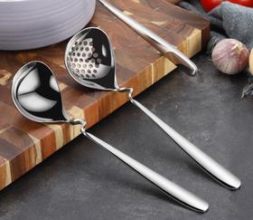 【餐具】304不锈钢加深加厚大汤勺长柄家用喝汤勺子