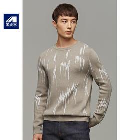 墨麦客男装2019冬季新款撞色提花圆领毛衣男士青年撞色针织衫2086