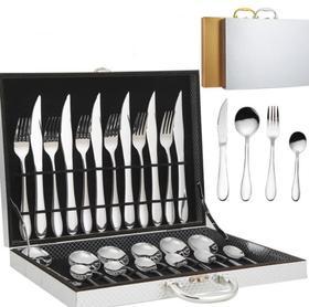 【餐具】不锈钢餐具刀叉勺高品位礼品 提手木盒精美不锈钢餐具24件套